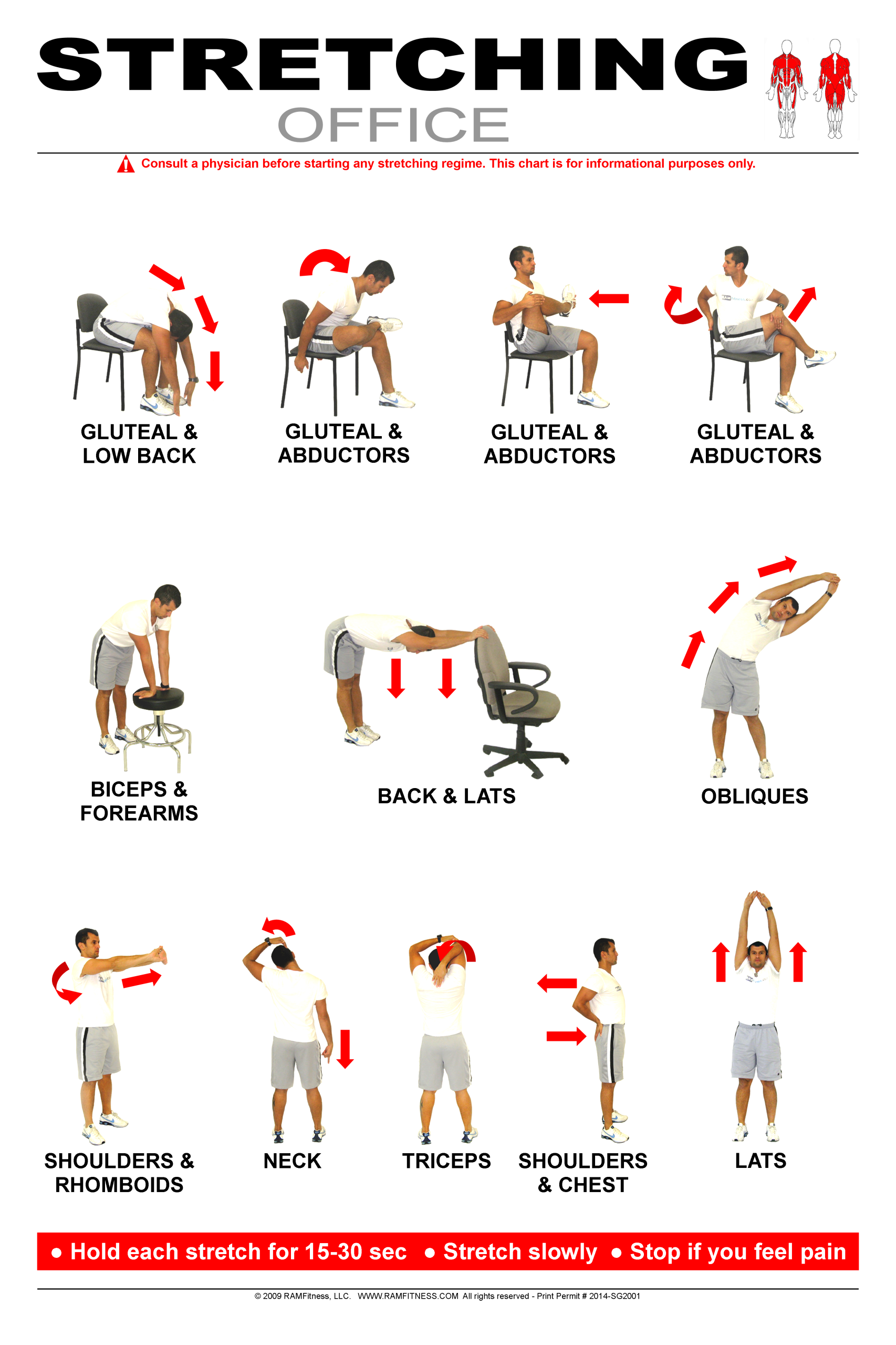 """Office Stretching Poster 24"""" x 36"""""""