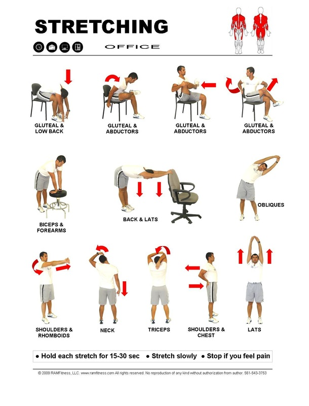 Free Printable Stretching Guide for Office, Office Stretching Exercises for FREE.  Stretching at work.