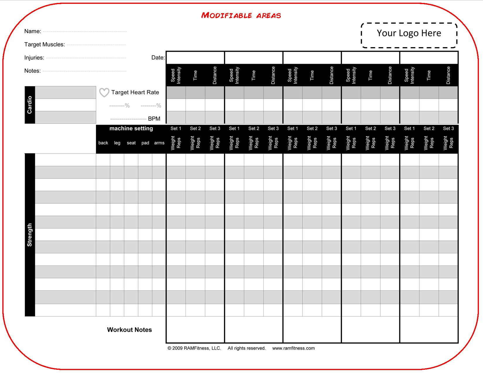 blank customizable workout log